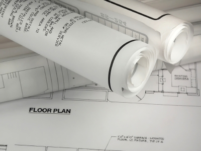 Rolled up floor plans