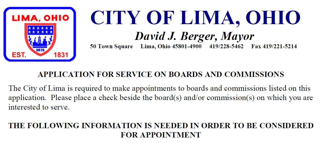 City of Lima Building and Commissions Header